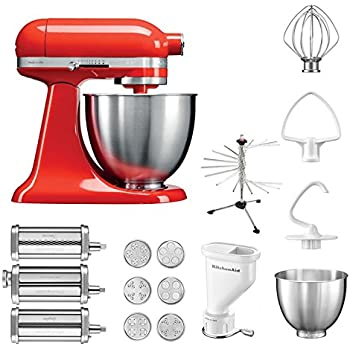 kitchenaid k chenmaschine mini 5ksm3311xe pasta paket inkl top zubeh r nudelvorsatz mit 3. Black Bedroom Furniture Sets. Home Design Ideas