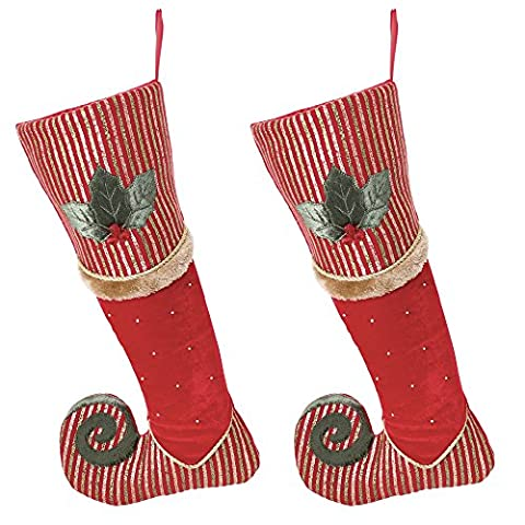Luxury Velvet Elf Christmas Stocking - quirky, unusual pair of stockings in an elf's boot design - made of high quality velvet with glitter, faux fur and a holly design - slimline, decorative festive Christmas stockings for a trendy, decorated household - ideal for presents, gifts and toys - L47cm - Set of 2