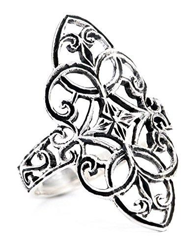 WINDALF Mittelalter-Ring FINJA h: 2.5 cm Zarte Ornamentik 925 Sterlingsilber (Silber, 58 (18.5))