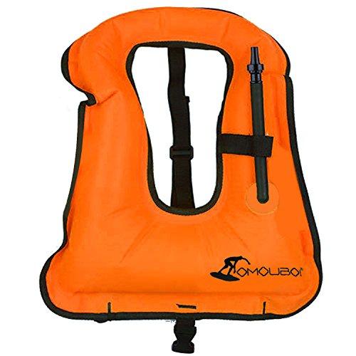 Gilet Gonflable pour Enfants, Beetest® Portable Unisexe Enfants Gilet Gonflable Plongée sous-marine Natation Gilet de sécurité de la vie Costume Équipement pour l'eau Activités Plongée Surf Boating Kayak Orange