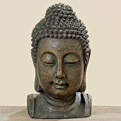 Buddha Buddhakopf H26cm braun aus Kunstharz