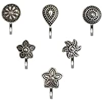 Vama Fashions German Silver Press on Oxidized nose ring pin Stud Combo offer Oxidised Black Metal Jewellery For Girls…