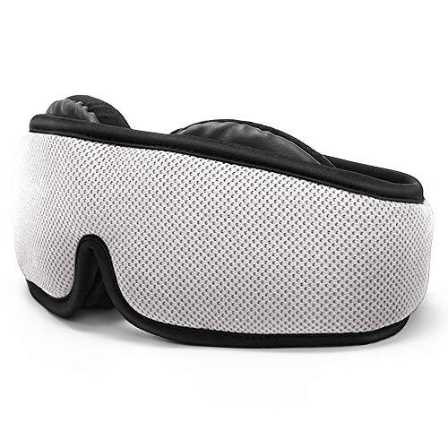 HOMMINI Reise Schlafmaske für Damen und Herren, Premium Schlafbrille 3D mit verstellbarem Band Augenmaske für komplette Dunkelheit und Freies Bewegen der Augen inkl. Ohrstöpsel&Aufbewahrungstasche -