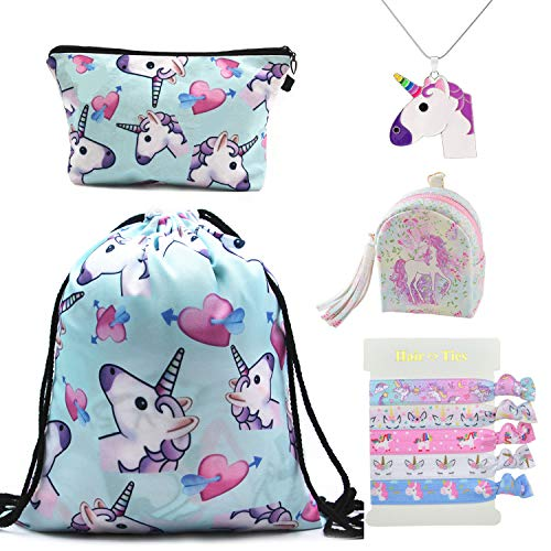 DRESHOW 5 Pacco Carino Unicorno Coulisse Zaino/Make Up Bag/PU Coin Pochette Borse/Lega Collana catena/Unicorno Legami per Ragazze