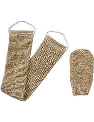 Homgaty chanvre corps brosse à récurer à dos Exfoliant Naturel avec gant de toilette