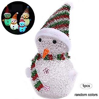 Muñeco de Nieve de los muñecos de Nieve de Navidad LED Brilla decoración de Santa Claus Ornamentos Partido del Cristal LED del árbol de Navidad Decoraciones para Colgar (de Color ramdon)
