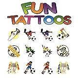 Henbrandt the Harlequin Brand 48x Tattoos Kinder Fussball Jungs 4cm Soccer Kindertattoo Einmaltattoos Hautsticker Kindergeburtstag Mitgebsel Tombola