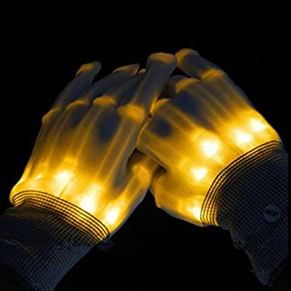 LED Colorful Gloves Flashing Finger Lighting Gloves for Clubbing Dancing Rave Birthday EDM Disco Light Show Christmas, Disco, Club Disc, Concert, Party, Birthday, Sport by Alxcio - Yellow Light