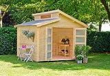 Outdoor Gartenhaus / Stufendachhaus Benno 1 Sockelmaß: 280 x 280 cm Dachstand: 320 x 316 cm Wandstärke: 28 mm Rauminhalt: 17,70 cbm Ausführung: naturbelassen Material: Massivholz