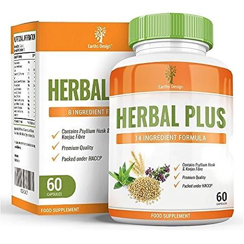 Purifica il colon ed elimina le tossine, integratore alimentare con Psillio, Konjac, Aloe Vera, tè verde, lassativo naturale per gonfiore, flatulenza, gas intestinale, costipazione, 60 capsule