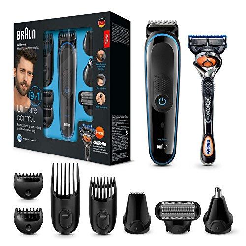 Braun MGK3085 9 en 1 - Recortadora todo en uno: para barba, pequeños detalles, vello, nariz y orejas, cortapelos, depiladora corporal, cuchillas larga duración, maquinilla Gillette Fusion5 ProGlide