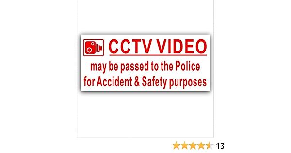 1 X Externe Aufkleber Cctv Video Bestanden Zu Police Für Unfälle Und Sicherheit Zwecke Rot Auf Weiß Security Warning 200 Mm X 87 Mm Cctv Van Lkw Bus Truck Taxi Cab Minicab