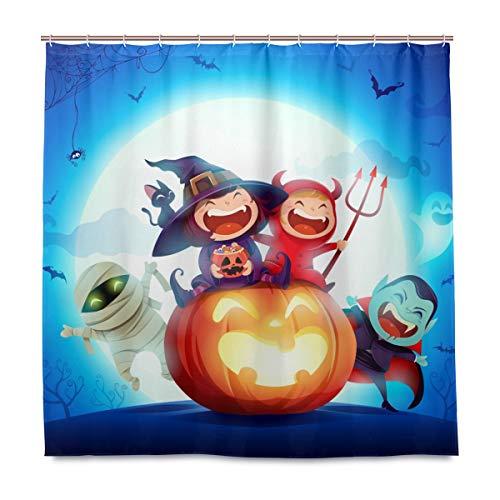 vinlin Halloween Kostüm Party Kürbis Hexe Wasserdicht Badezimmer Zubehör Duschvorhang Badevorhang 182,9 x 182,9 cm