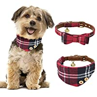 Tacobear 2pcs Dog Collar Leather Cat Collar Adjustable Puppy Collar Bow Tie Cute Red Bandana Dog Collar with Bell for Small Dogs Puppy Cats