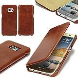Urcover® Samsung Galaxy S7 Edge Echt Leder Handy Schutz-Hülle | Lederhülle Braun | Spruch Wallet Cover | Klapp-Funktion Schale | Tasche | Etui klappbar | Smartphone Zubehör