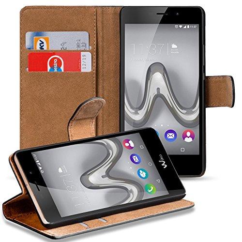 Verco Tommy 2 Plus Hülle, Handyhülle für Wiko Tommy 2 Plus Tasche PU Leder Flip Case Brieftasche - Schwarz