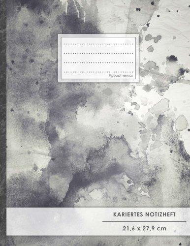 """Kariertes Notizbuch • A4-Format, 100+ Seiten, Soft Cover, Register, Mit Rand, """"Schwarze Tinte"""" • Original #GoodMemos Quad Ruled Notebook • Perfekt als Matheheft, Skizzenbuch, Arbeitsheft, Tagebuch"""