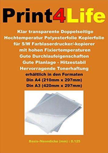 100 Blatt DIN A4 OHP Overheadprojektor - Folie Premium Beidseitige Hochtemperatur Kopierfolie für Trockentonergeräte auf 0.125 mm dickem, extrem hitzestabilem Polyester beschichtet. Geeignet für sehr hohe Fixiertemperaturen.