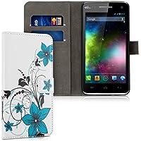 kwmobile Funda para Wiko Rainbow 3G / 4G - Wallet Case plegable de cuero sintético - Cover con tapa tarjetero y soporte Diseño Floral en azul negro blanco