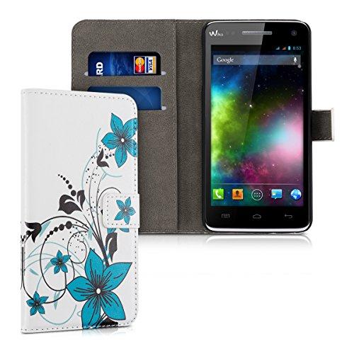 kwmobile Wiko Rainbow 3G / 4G Hülle - Kunstleder Wallet Case für Wiko Rainbow 3G / 4G mit Kartenfächern & Stand - Blumenmuster Design Blau Schwarz Weiß