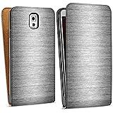 Samsung Galaxy Note 3 Tasche Hülle Flip Case Metal Look Silber Glitzer Metall