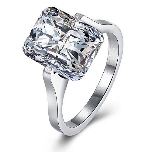 Ring Damenring Verlobungsring Ehering Trauring mit Stein Zirkonia ein Klassischer Eleganter Edelstahl Diamantring Schmuck für Mädchen und Frauen, JST188-A-8-UK (Passende Kreuz Eheringe)