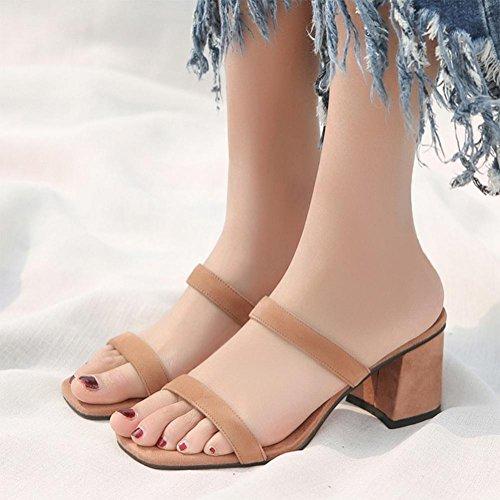 Frau hochhackige Sandalen Sommer Sandalen und Pantoffel, dick mit wildem weiblichen Studenten Wort Riemchensandalen Pink