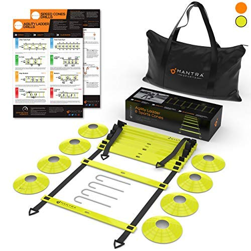 20ft Agility Ladder & Speed Cones Training Set - Exercise Workout Equipment To Boost Fitness & Increase Quick Footwork - Kit for Soccer, Lacrosse, Hockey & Basketball - With Carry Bag & Drill Charts -