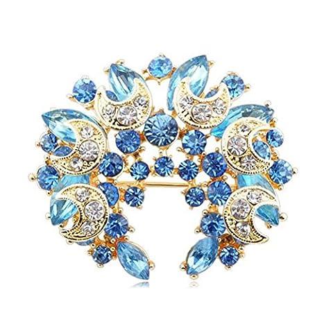 S&E Elegant broches Diamante lune ronde des femmes Conception de poitrine en pleine Strass corsage Broche Bouquet épinglettes