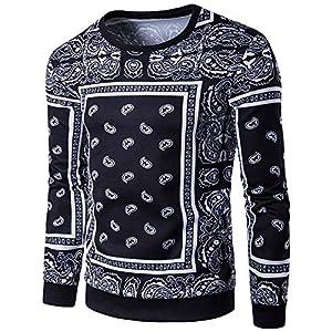 TWBB Herren Pullover Sweatershirt Hemd Printed Slim-Fit Freizeit Langarm Oberteile Männer Tops