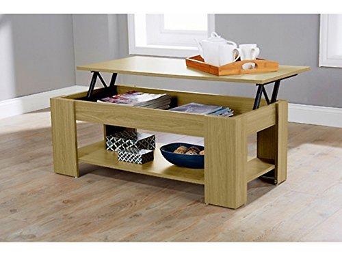 Caspian Lift Top Coffee Table with Storage & Shelf - Espresso, Walnut, Oak, White (Oak) Test