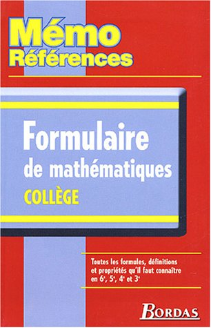 MEMO REFERENCES FORMULAIRE DE MATHS (Ancienne Edition)