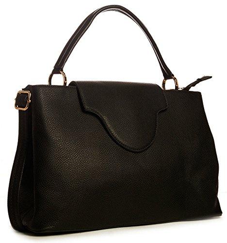 Big Handbag Shop yizz donna cartella Designer in ecopelle con impugnatura superiore Nero (nero)