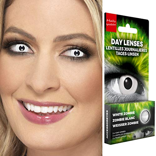NET TOYS Kontaktlinsen Zombie ohne Dioptrien | Weiß | Aufregendes Unisex-Accessoire Effektlinsen Gothic | EIN Highlight für Halloween & Karneval