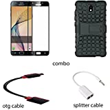 Samsung J7 Pro (2017) Tempered Glass 3d (Japaneses Technology) ,curved,colored ,(combo Offer),hybrid Hardcase Kickstand,otg Cabel,headphone Spliter ,full Combo For Samsung J7 2017 Full Combo With Accessories