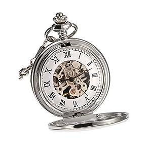 Klassische Glatt Oberfläche Mechanische Taschenuhr mit Weihnachten Geburtstag Hochzeit