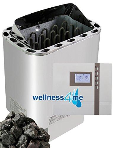 Saunaofen Nordex 8 kw inkl. EOS Steuerung 45A2, Silikonkabel und Olivin Diabas Saunasteine