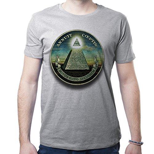 Illuminati Triangle Art Majestic Novus Ordor Herren T-Shirt Grau