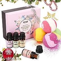 Y.F.M Aceites Esenciales 100% naturales y Bombas de Baño,Tratamientos de Spa, 4 Bolas Efervescentes y 4 Aceites Perfumados de Aromaterapia, Regalo Perfecto de Navidad
