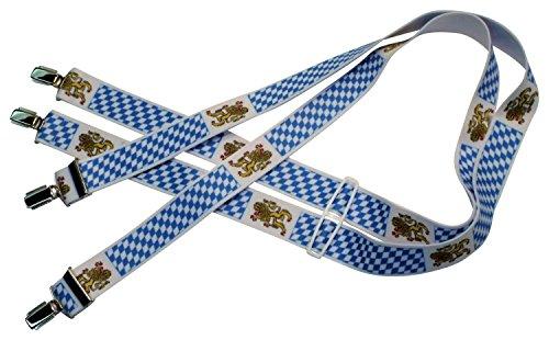 Teichmann Hosenträger in vielen verschiedenen Designs, mit 4 nickelfreien Clips, 3,5 cm breit - Design: Notenmotiv, Edelweiß, Amerikanische Flagge und viele mehr (Bayrische Löwen und Rauten)