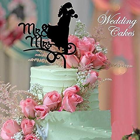 B & Y Mr & Mrs Couple s'embrassant Silhouette en acrylique pour gâteau de mariage avec arbre