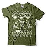 Silk Road Tees des Hommes Ont Un drôle de Noël Dudely Bowling T-Shirt Culture Populaire T-Shirt Dude T-Shirt Dudeness T-Shirt Medium Military Green