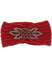 88c57663886 Bandeau Maille Bordeaux Perles - Bandeau Cheveux Hiver - Headband Femme -  Bonnet Cache Oreille -