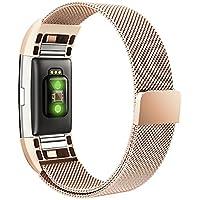 Fitbit Charge 2 Cinturino Simpeak Cinturino in Acciaio Inossidabile Band Loop Milanese con Chiusura Magnetica,Piccola,5.25--6.7 Pollice ,Oro-Rosa