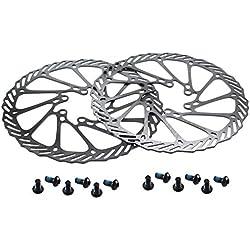 CYSKY Lot de 2 disques de Frein à Disque en Acier Inoxydable 180 mm pour la Plupart des vélos de Route, VTT, BMX, VTT (12 vis incluses)
