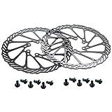 CYSKY Lot de 2 disques de Frein à Disque en Acier Inoxydable 203 mm pour la Plupart des vélos de Route, VTT, BMX VTT (12 vis incluses)