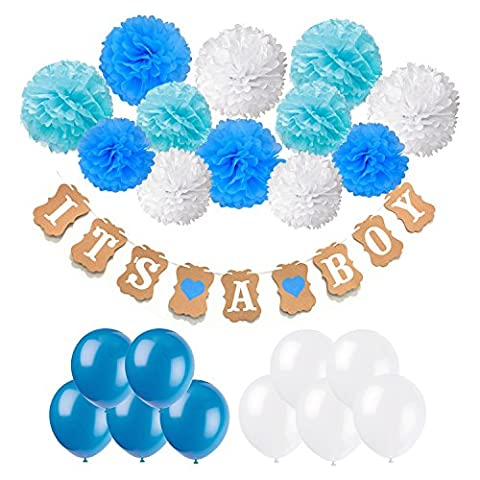 Baby Shower Decorations, Recosis IT IS A BOY Paper Garland Bunting Banner with 12 Paper Pom Poms and 20 Pieces Latex Balloons for Christening Baby Shower Garland Decoration Birthday Party