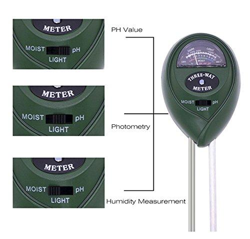 3-in-1 Bodenfeuchtemessgerät Licht und PH Acidity Tester Pflanzenboden für Garten Rasen