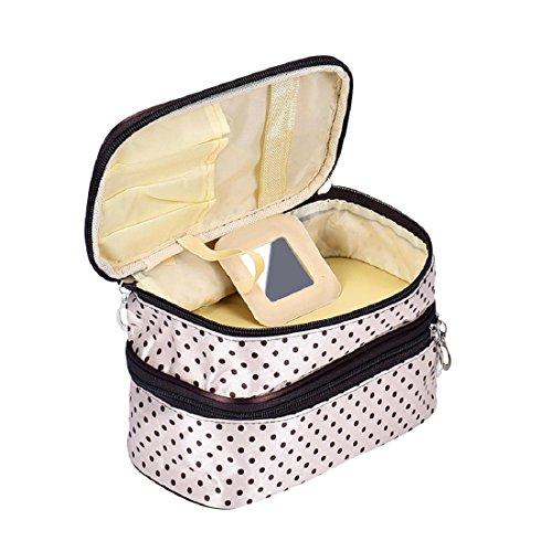 Tonsee Frauen Portable kosmetische Veranstalter Make-up Hardcase Zip Beutel(beige) (Trolley-make-up Veranstalter)