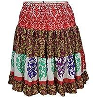 Womens Dancing Colorful Skirt Vintage Upcycled Silk Sari Tiered Beach Skirts